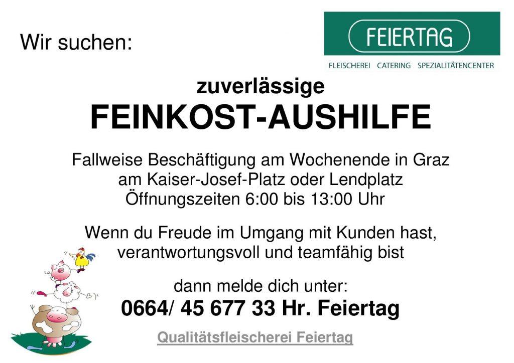 Stellenausschreibung Aushilfe Graz