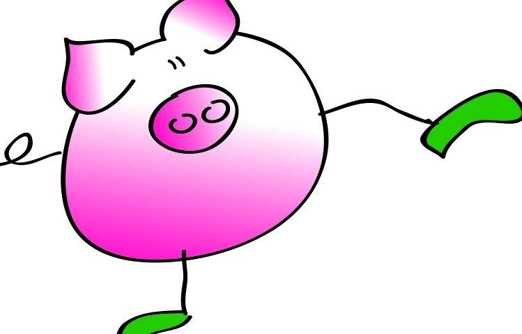 gezeichnets Schwein als Markenzeichen von Feiertag
