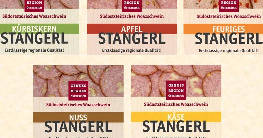 Genussregion-Logos für verschiedene Sorten Woazschwein-Stangerl von Feiertag